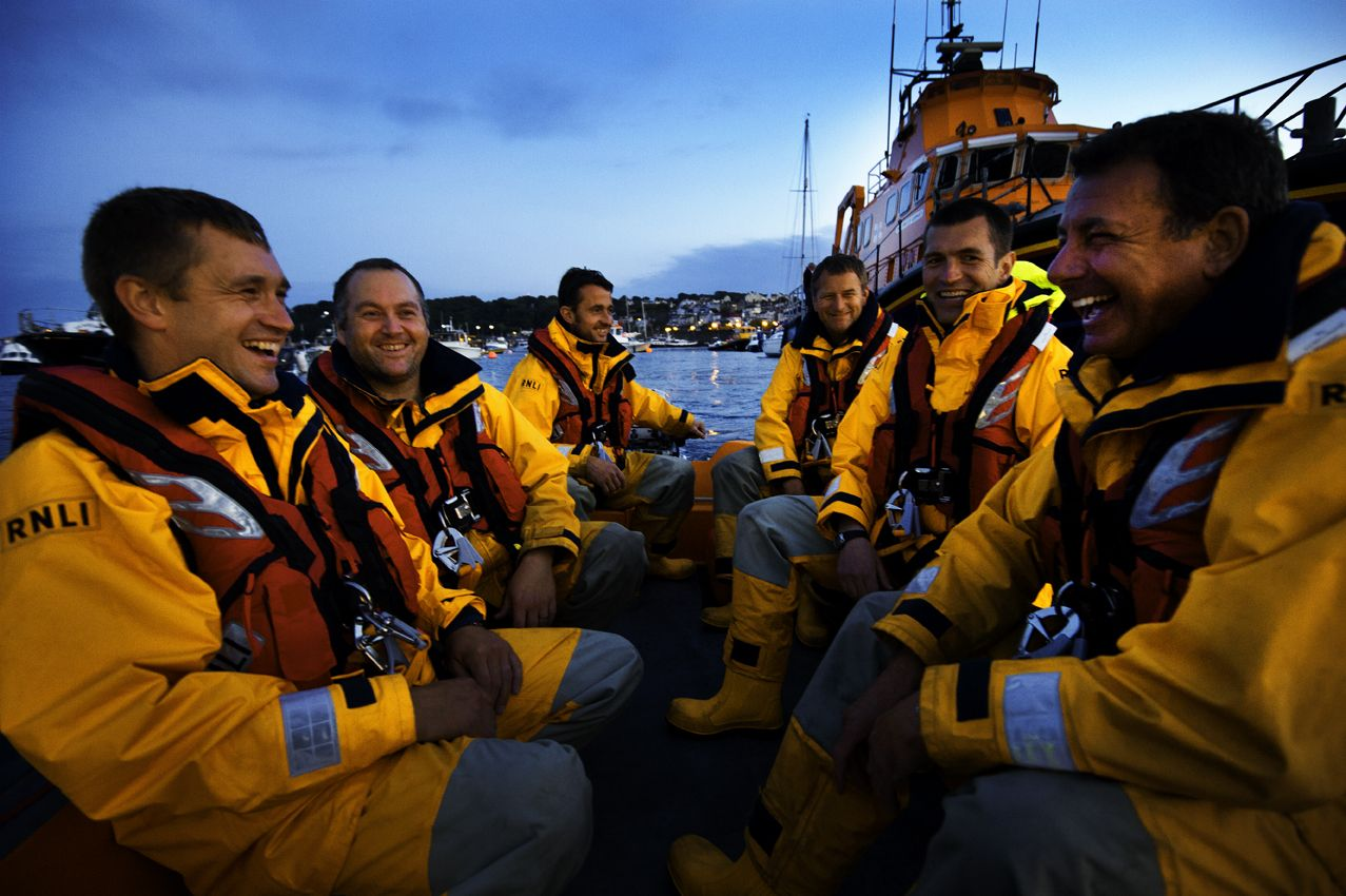 The volunteer crew of St Peter Port lifeboat take their