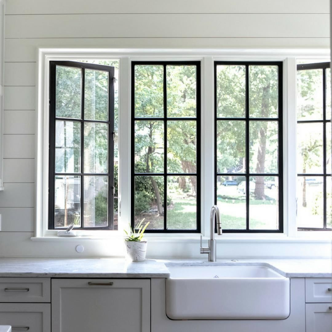 Image May Contain 1 Person Indoor Interior Windows Modern Farmhouse Kitchens Black Window Trims