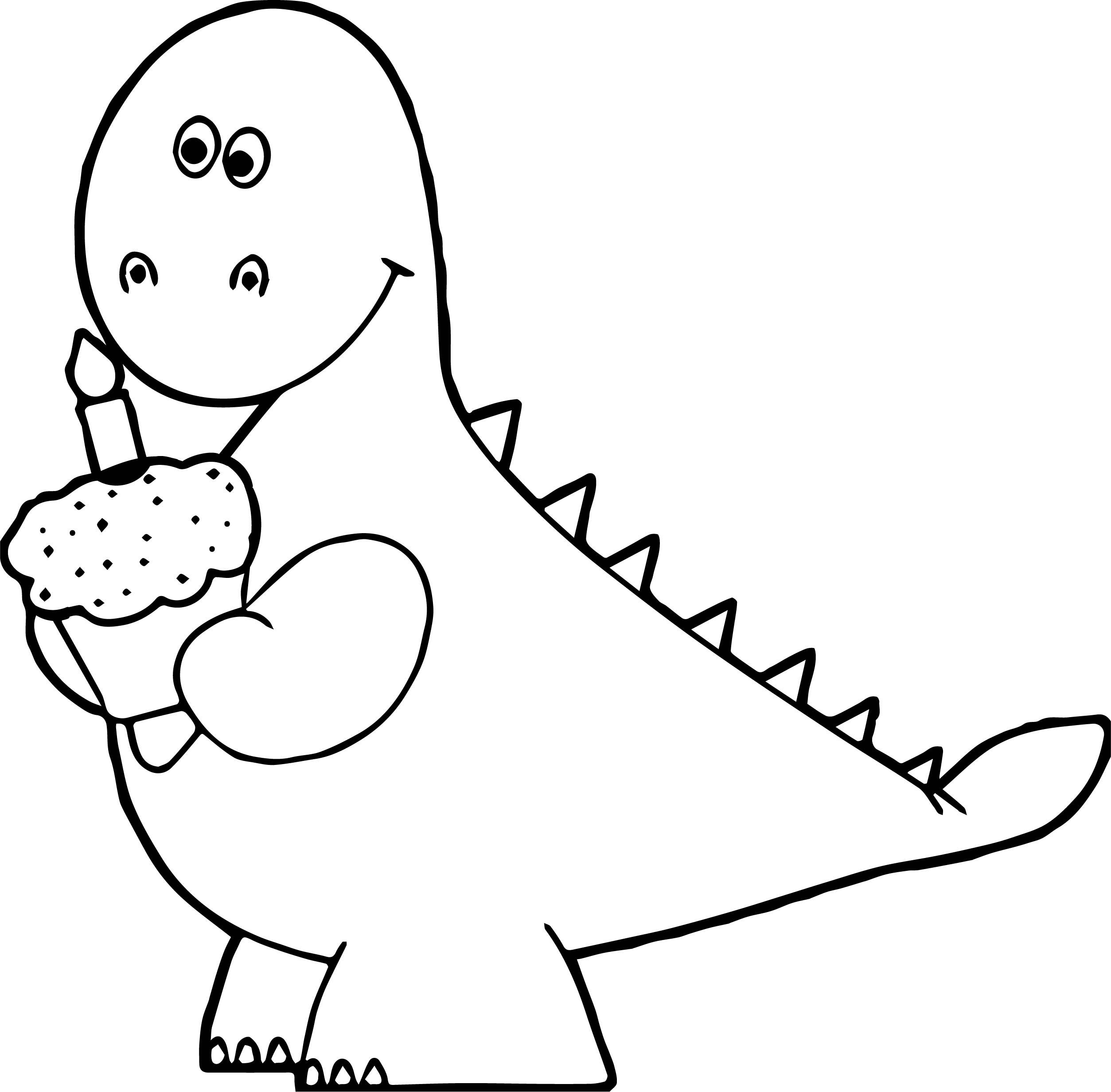 Nice Orange Dinosaur Birthday Cupcake Coloring Page Cupcake