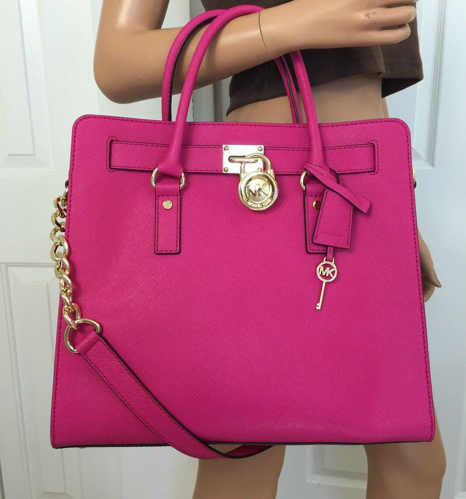 dc31630d6ee5ec Michael Kors Hamilton Large Saffiano Leather Tote Shoulder Pink Gold Bag  Purse #MichaelKors #ShoulderBag