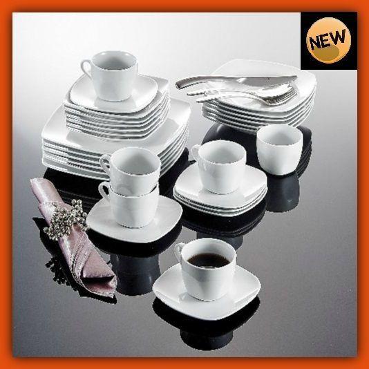 30pc Porcelain Dinnerware Set Cups Saucers Soup Plates Square Kitchen Eat White & 30pc Porcelain Dinnerware Set Cups Saucers Soup Plates Square ...