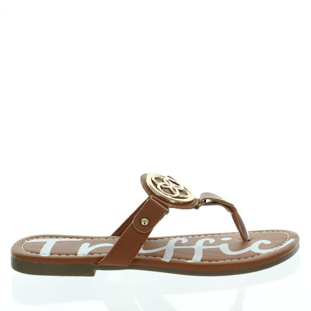 Patris Tan Gold Medallion Thong Flat Sandals