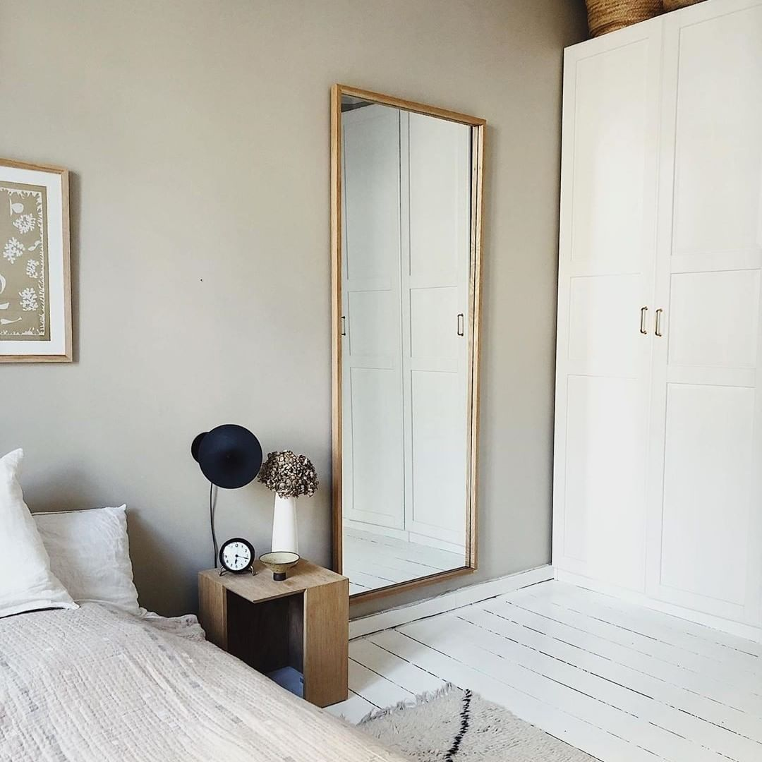 Hübsch On Instagram We Are Loving This Calm And Quiet Bedroom Space Annaceciliep Has Created Here Note A Big Mirror Can Make Even Big Mirror Bedroom Room