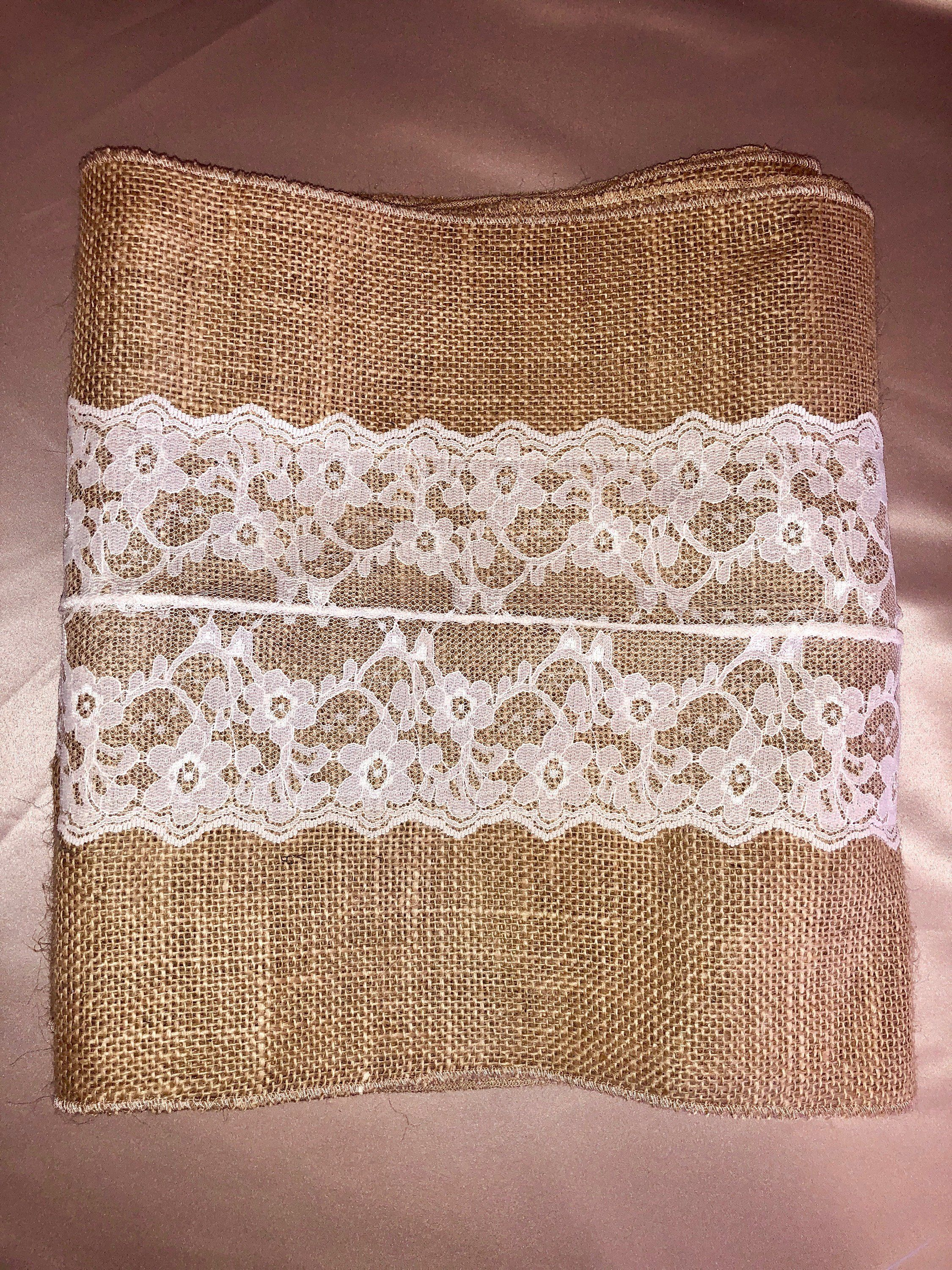 Sale Table Runner, Burlap Table Runner With Ivory Lace, Rustic