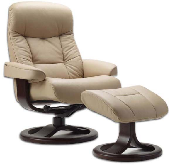 Fjords 215 Muldal Ergonomic Leather Recliner Chair Ottoman