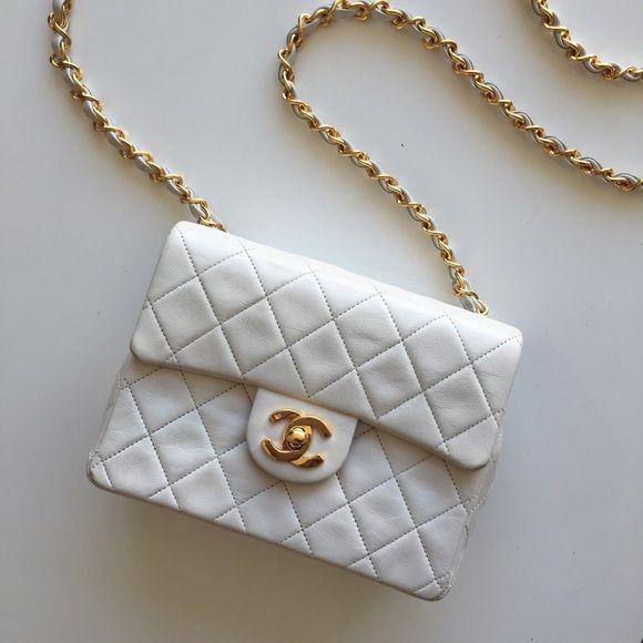 Vintage Chanel Mini White 2 55 Flap Bag 24k Gold Chanel Mini Vintage Chanel Flap Bag