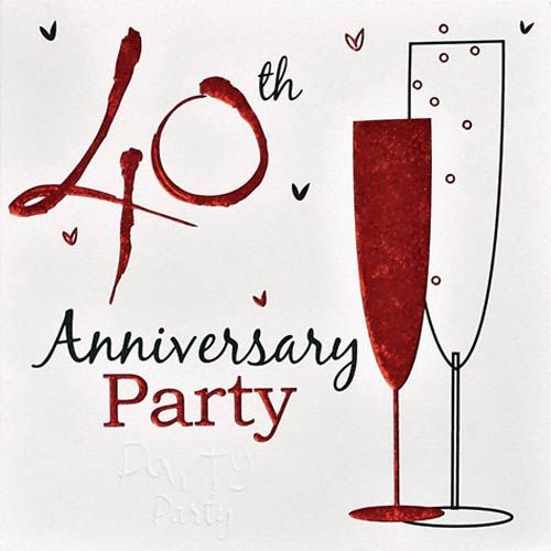 Wedding Anniversary Invitation Cards In Packs Of 6 With Envelopes We Have More Ruby Items And Tableware Available Our Online