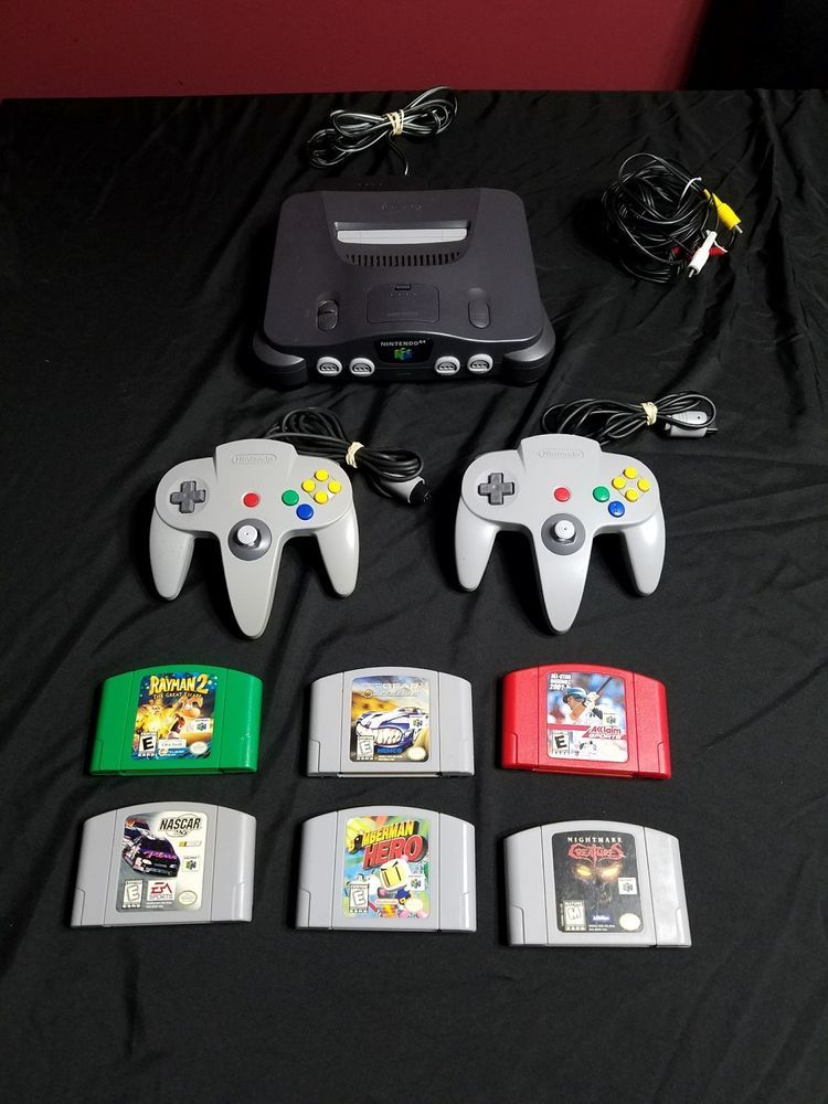Nintendo N64 lot / Console - 2 gray controllers - 6 games