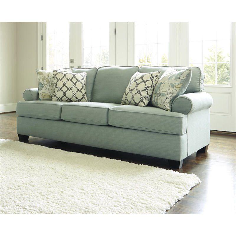 Ashley Daystar Fabric Queen Size Sleeper Sofa In Seafoam