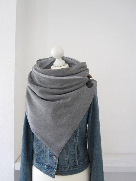 Fleeceschals - Wickelschal Fleece grau meliert - ein Designerstück ...
