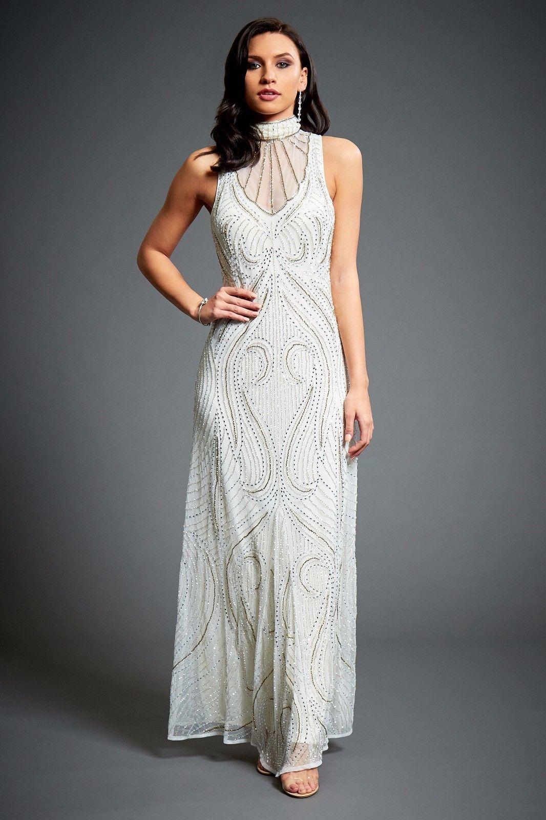 a44a46d20c0 Florence Art Deco 1920s Flapper Great Gatsby Style Wedding Guest Maxi Dress  10UK