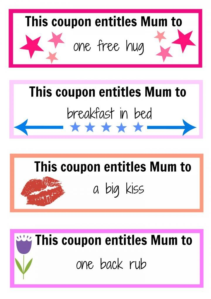 Motheru0027s Day coupon booklet Activities - free lunch coupon template
