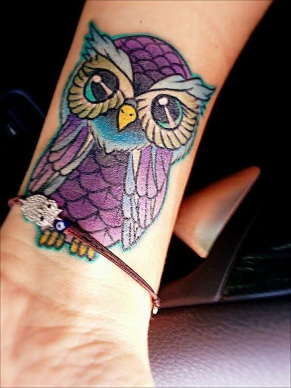 15+ Best Owl Wrist Tattoo Designs | PetPress in 2020