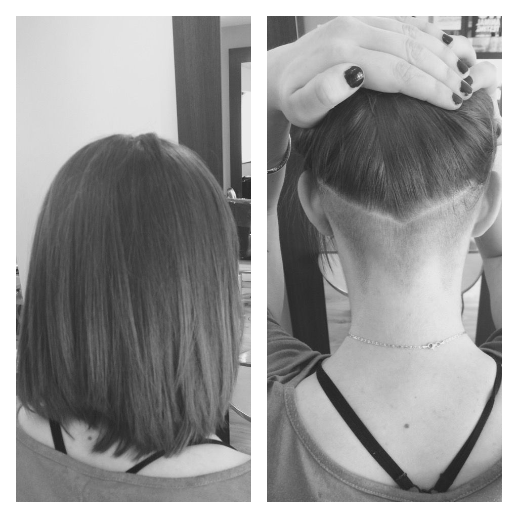 Undercut in a \u0027V\u0027 shape with short hair.