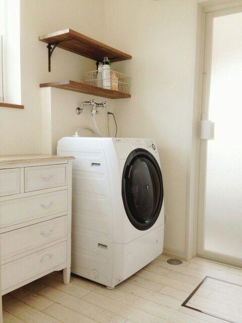 洗濯機の上の棚かわいい