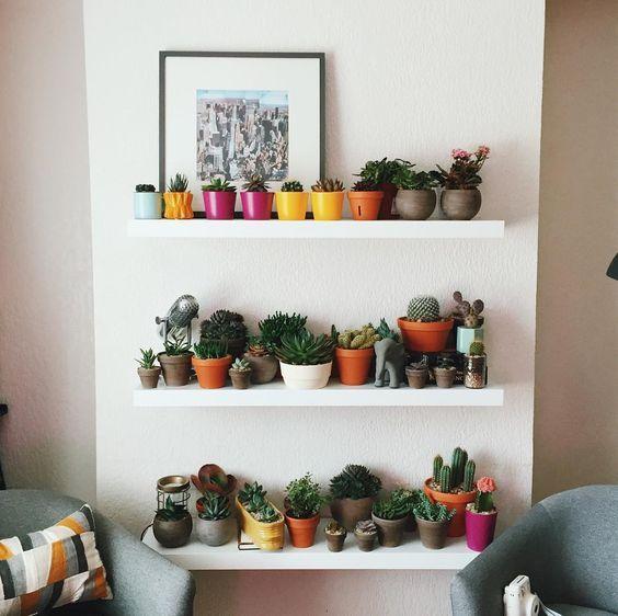 Decoraci n de interiores con repisas y plantas repisas for Adornos para repisas