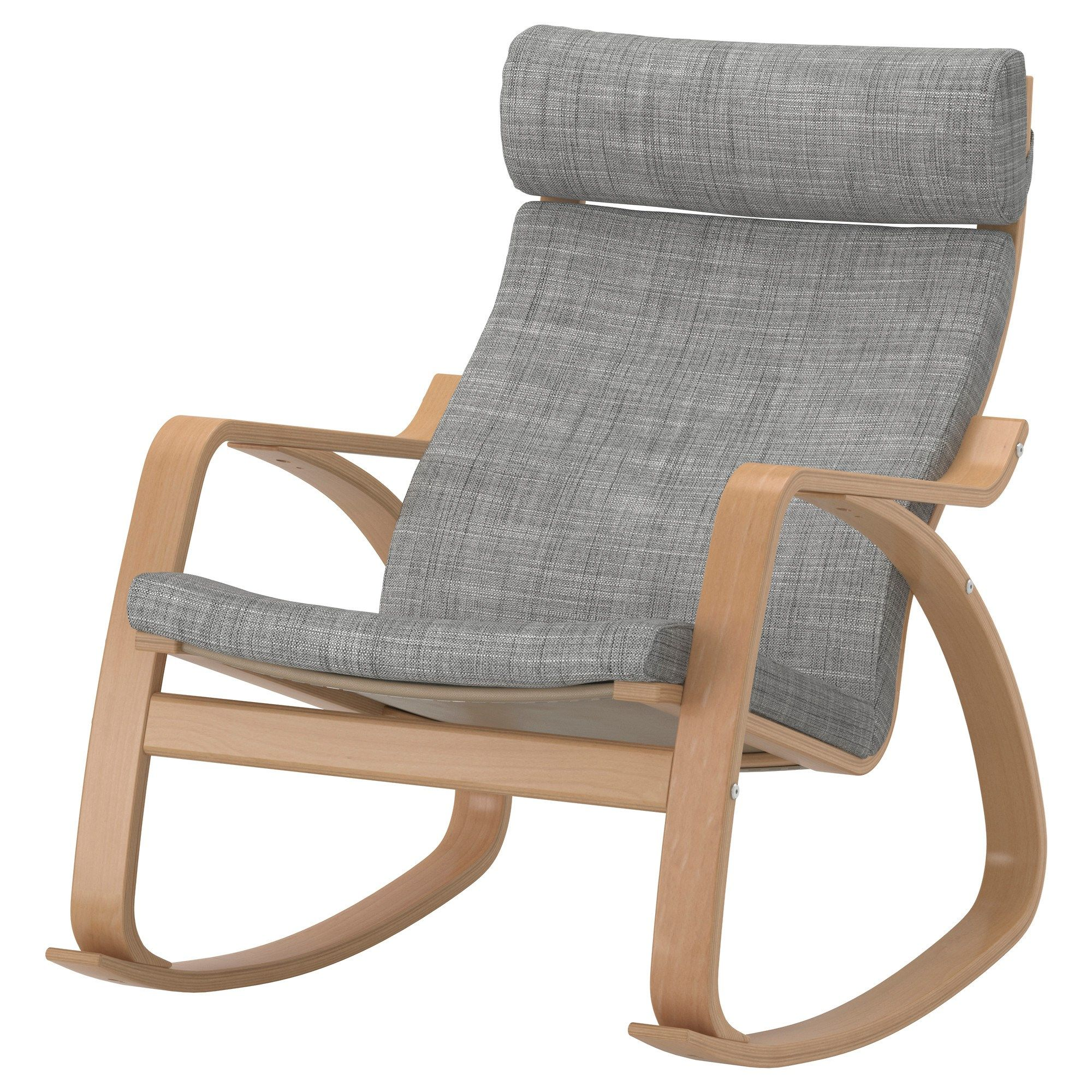 "IKEA PO""NG Rocking chair Isunda beige The frame is made of layer glued bent birch which is a very strong and durable material"