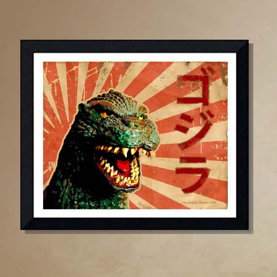items similar to fine art print godzilla rising sun x giclee print king of monsters godzilla print sci fi monsters on etsy - Godzilla Pictures To Print
