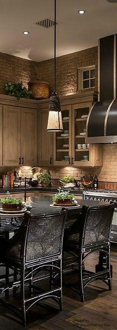 beautiful black & weathered beige kitchen cabinets | mediterranean