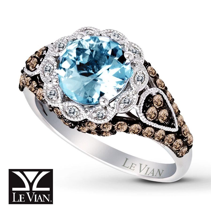 Jared Le Vian Aquamarine Ring 34 ct tw Diamonds 14K Vanilla