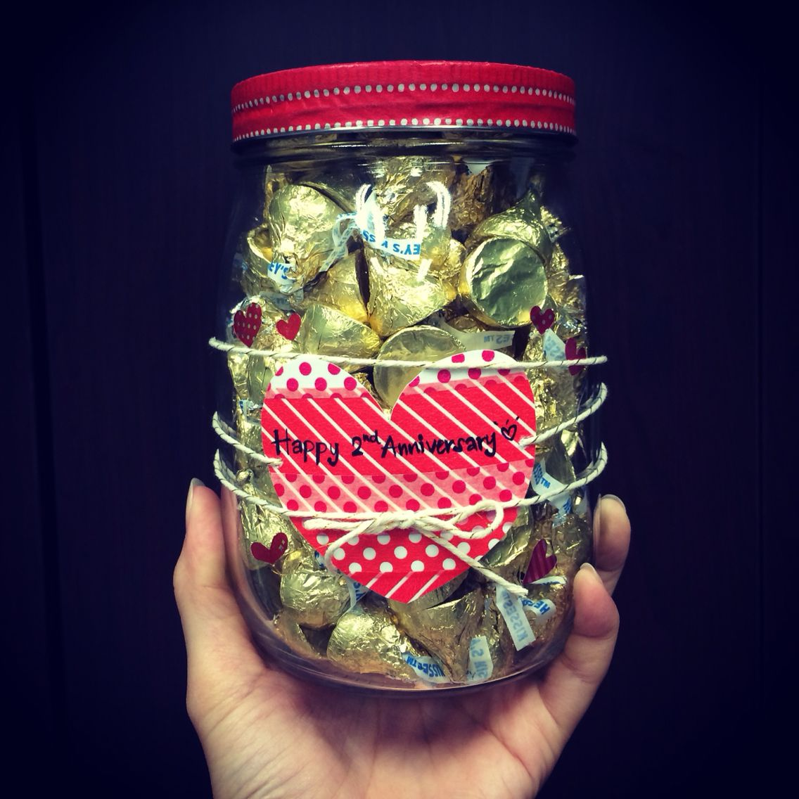 Valentine's day and 2nd anniversary - kiss me everyday: kiss hershey choco in mason jar