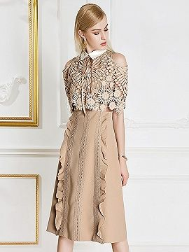 b97551b976c Shop Khaki Cold Shoulder Lace Panel Pointed Collar Ruffle Trim Midi Dress  from choies.com .Free shipping Worldwide. 42.29