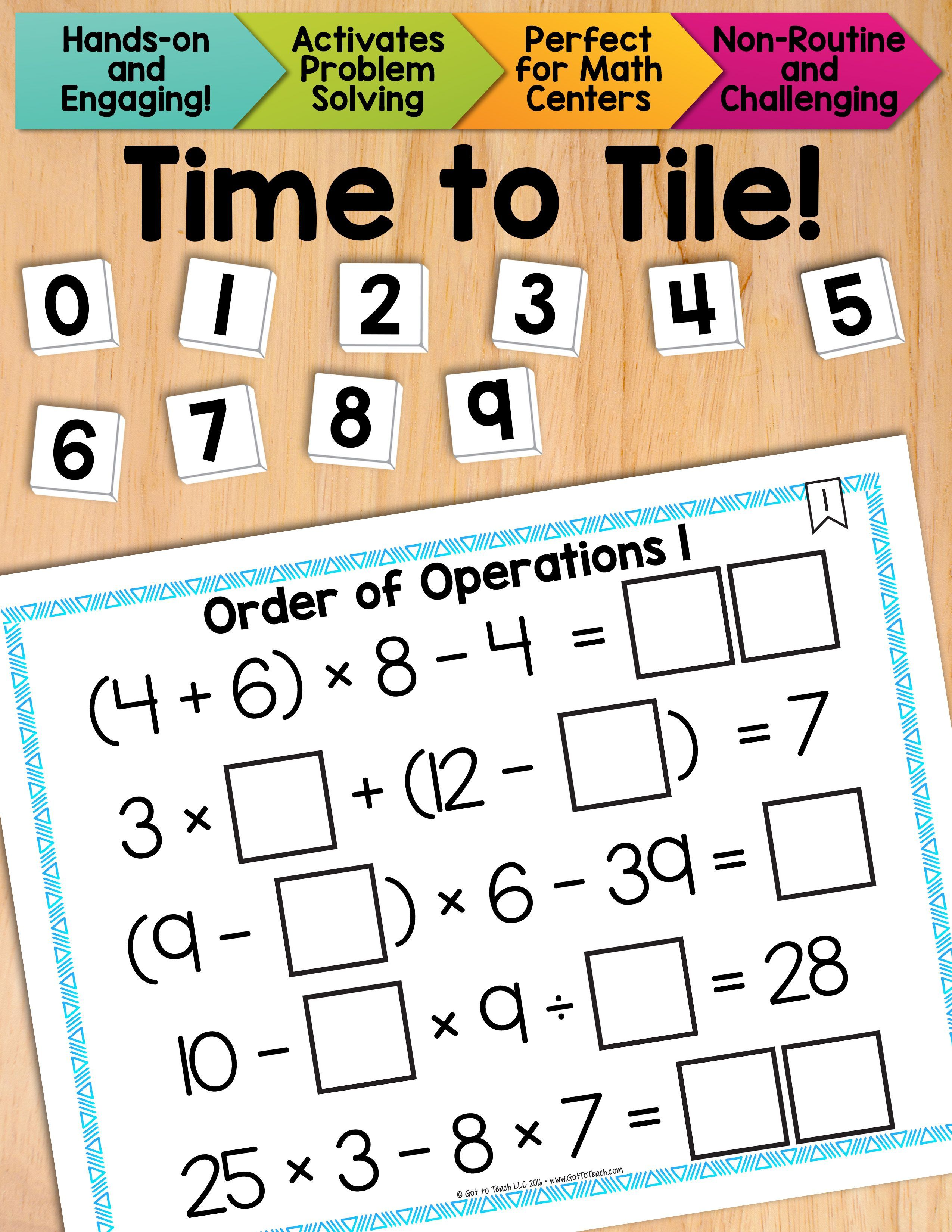 Math Tiles Order Of Operations 1 Without Exponents Math Centers