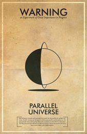 Vintage Fringe Science Warnung Poster   Parallel Universum inspiriert Wandkunst für den angehenden Mad Scientist  Shieds