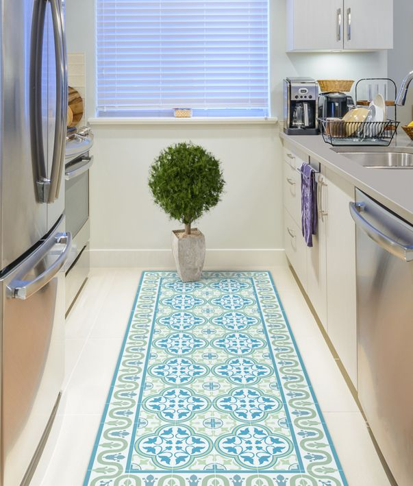 Vinyl Floor Mat With Tiles In Green And Turquoise Kitchen Etsy Rug Runner Kitchen Vinyl Floor Mat Kitchen Mats Floor