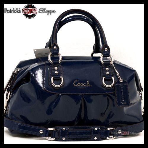 Bnwt Coach Ashley Patent Leather Satchel 15445 Cobalt Dark Blue Purse Bag New Ebay