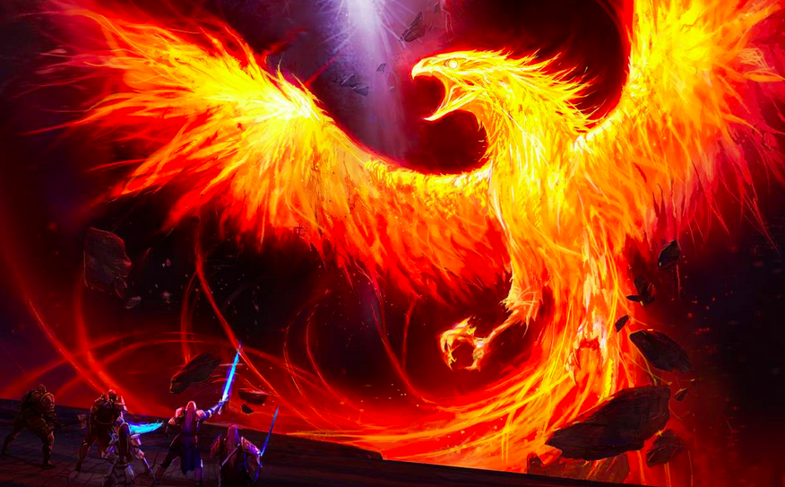 Phoenix - The golden bird, who at the end of its life, burst into flames only to be reborn again