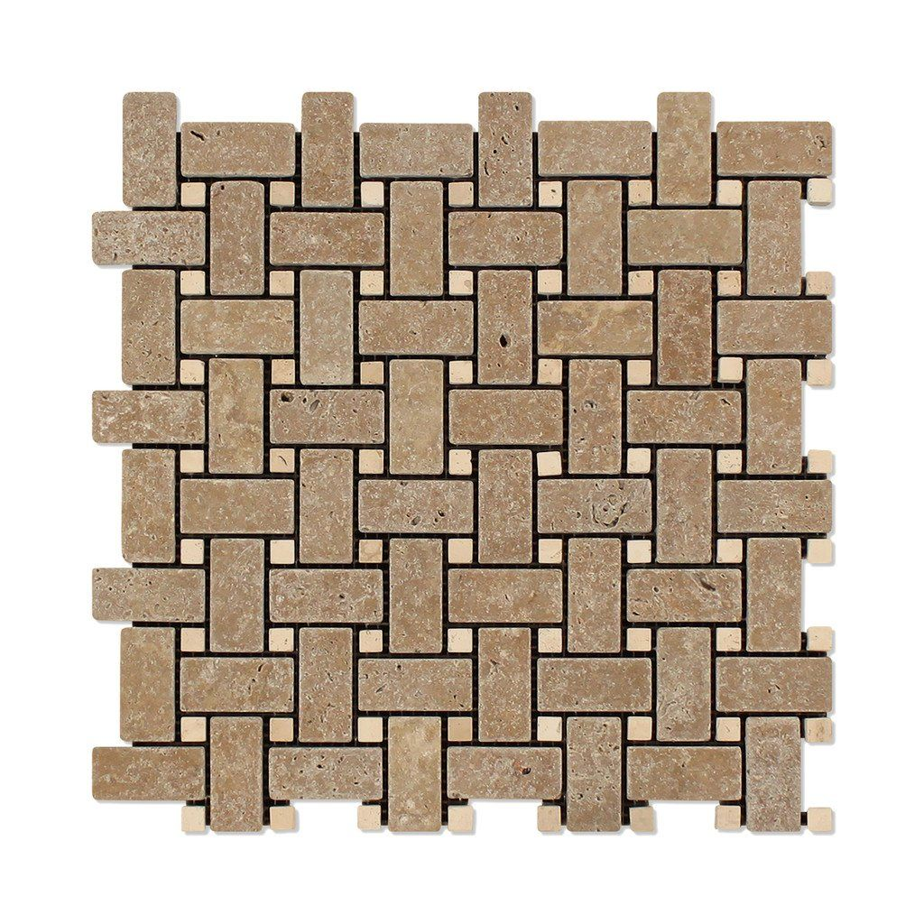 Noce Travertine Tumbled Basketweave Mosaic Tile W Ivory Dots