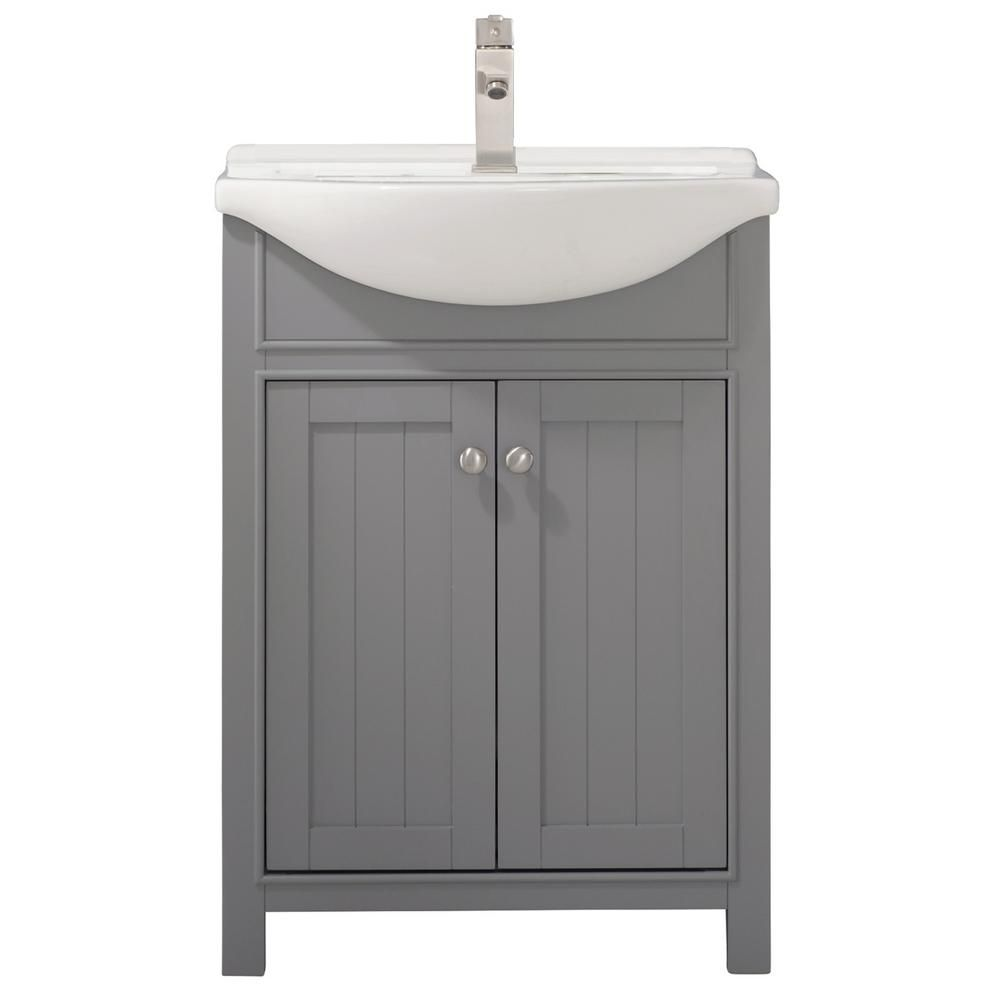 Design Element Marian 24 In W X 17 In D Bath Vanity In Gray With