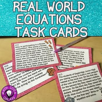 Equations & Word Problems Task Cards 7th Grade 7.EE.B.4a | Equation ...