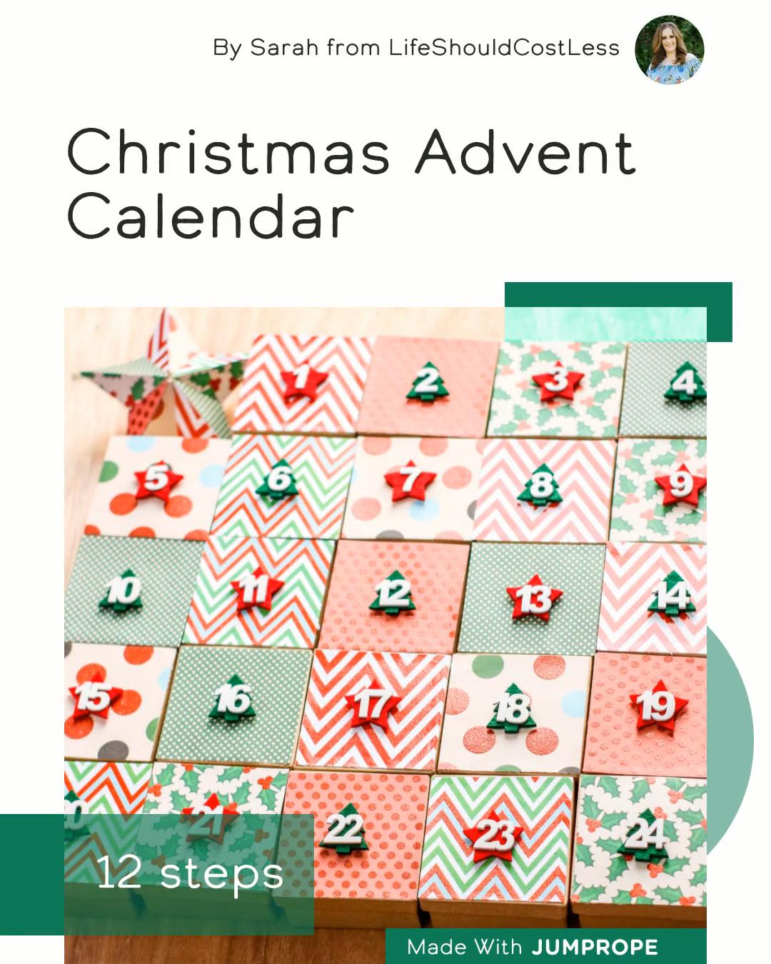 Christmas Advent Calendar in 12 steps #christmas #diychristmas #christmasdecor #holiday #christmasparty #wintercrafts #adventcalendar