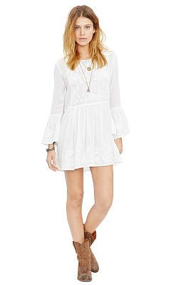 Embroidered Bell-Sleeve Dress - Denim \u0026 Supply Short Dresses - RalphLauren .com
