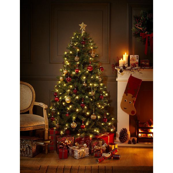 6ft Traditional Pre Lit Christmas Tree M S 115 Liked On Polyvore Featuring Home Home Deco Pre Lit Christmas Tree Green Christmas Tree Gold Christmas Tree