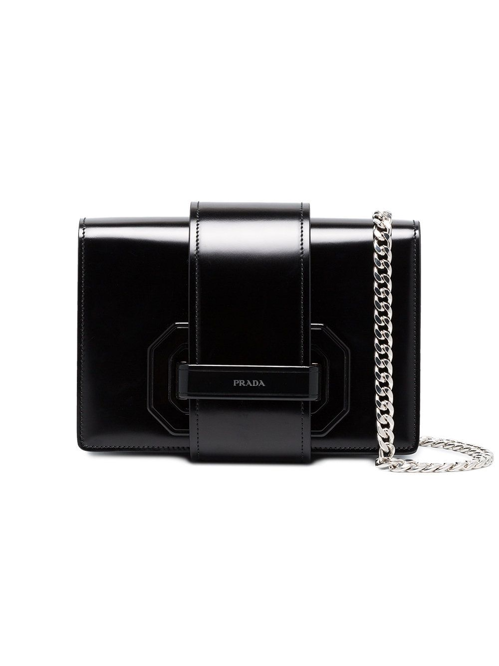011ce0a4b0f7e0 Prada Black plex ribbon leather shoulder bag | Prada | Leather ...