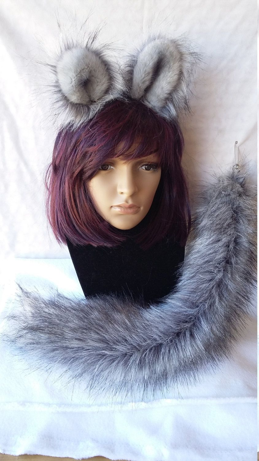 Cheshire Cat Inspired Ear Tail Clip On Combo in Faux Fur