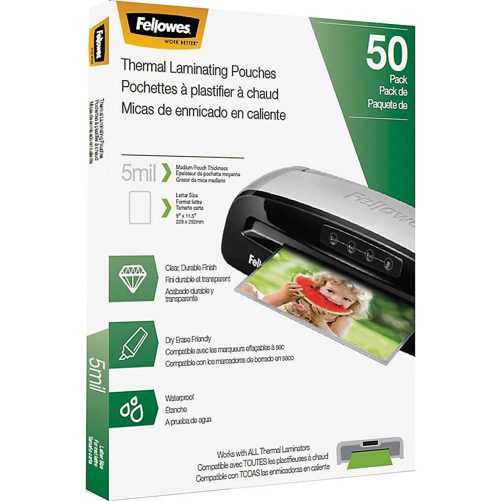 Fellowes Thermal Laminating Pouches 8 1 2 X 11 50 Pouches Per Pack Case Of 10 Packs Pouch Lettering The 100