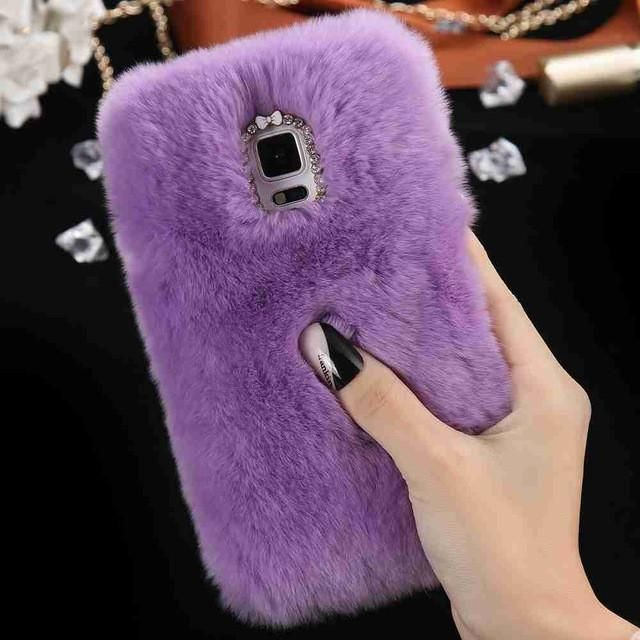KISSCASE Note 4 Bling Diamond Real Rabbit Fur Capa For Samsung Galaxy Note 4 N9100 Woman Soft Anti-shock Back Phone Case Cover