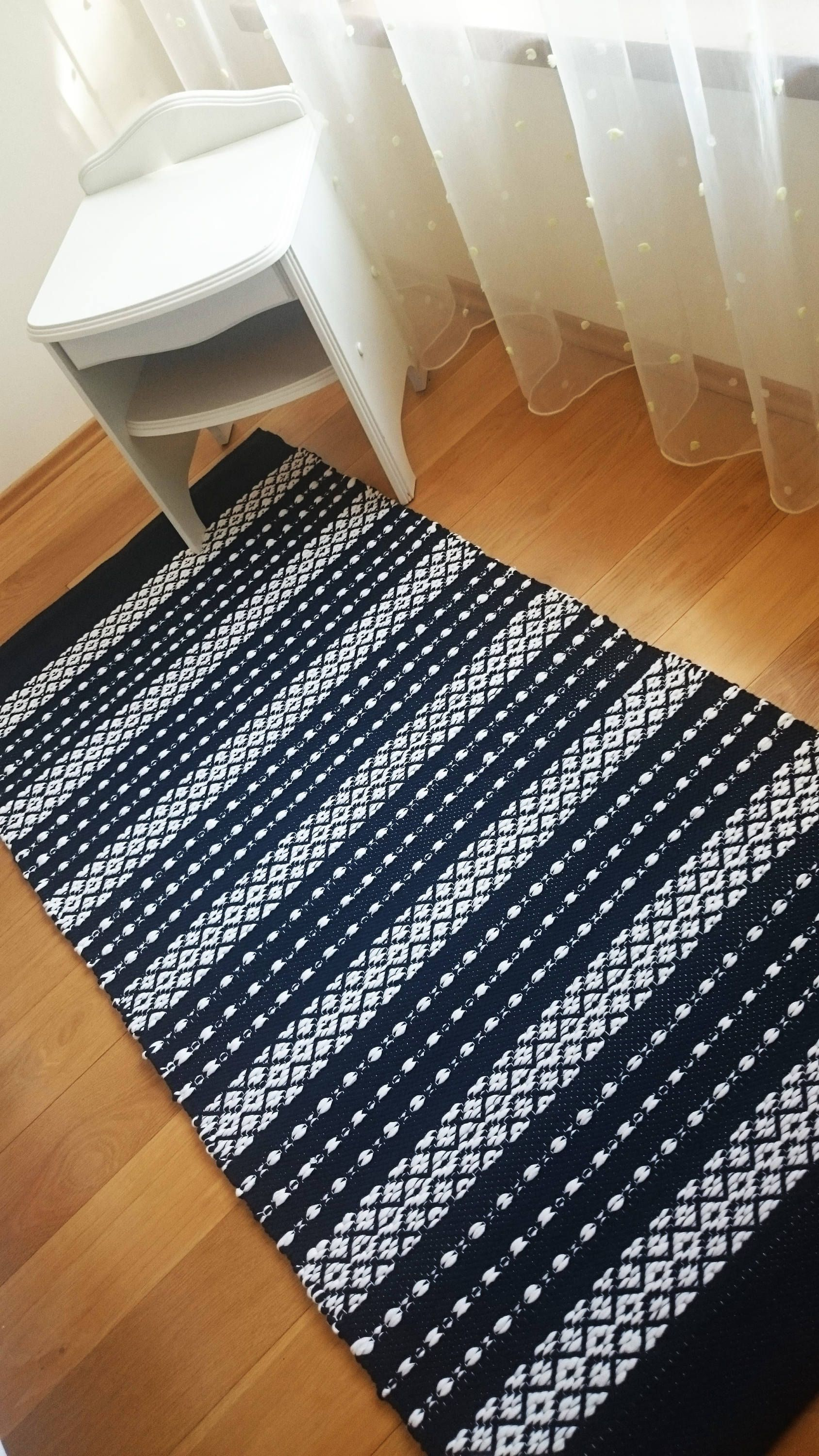 Items Similar To Scandinavian Striped Rug Navy Blue And White Floor Runner Machine Washable Cotton Carpet Handmade On The Loom Ready To Ship On Etsy Cotton Carpet Striped Rug White Floors