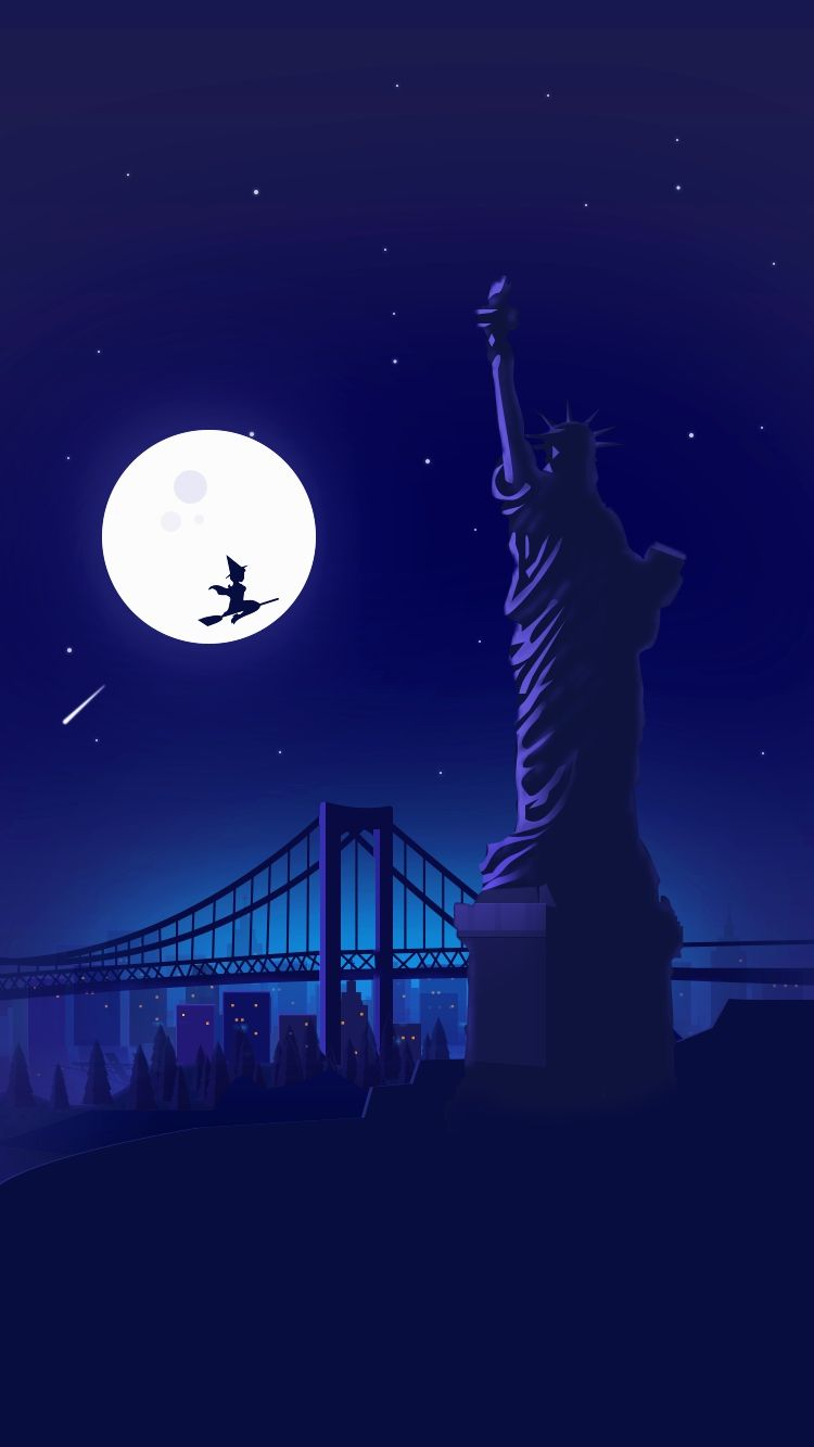 Halloween Witch At Statue Of Liberty Holloween Night Moon Iphone Wallpaper Minimalist Wallpaper Scenery Wallpaper Witch Wallpaper