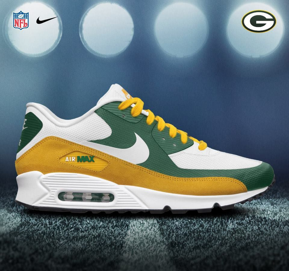 Green Bay Packers Airmax 90 Premium Christmas Present Someone Nike Shoes Air Max Nike Air Max Nike Free Shoes