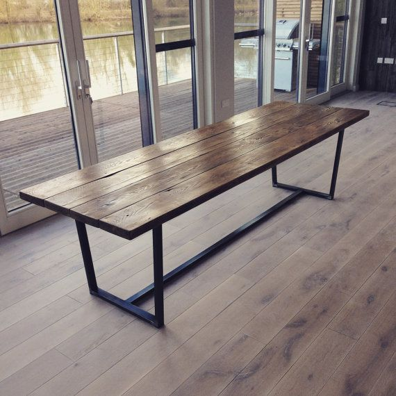 Reclaimed Wood Dining Table With Tapered Steel Frame