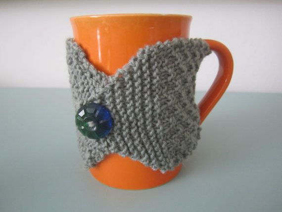 Grey hand knit coffee cup cosy mens