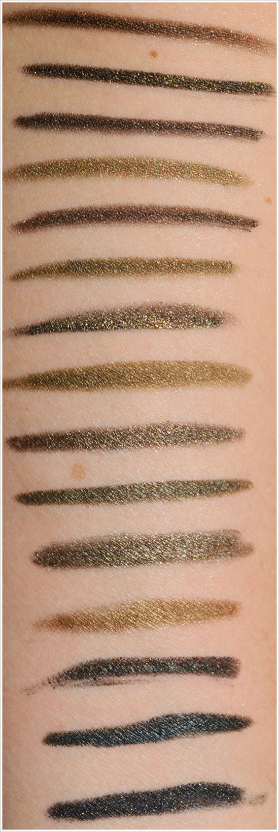 olive green eyeliners: swatches, dupes, and comparisons