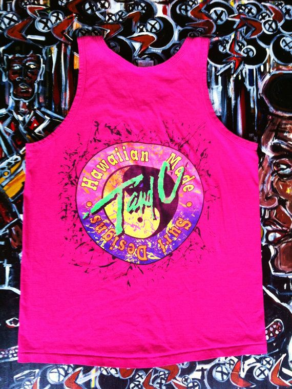 44b248804302c Vintage 80 s T C Surf Designs Neon Tank Top Made in the USA Skate ...