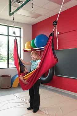 Medium image of southpaw u0027s acrobat swing can be hung from two three or four attachment points  as a hammock it provides vestibular input with increased pressure offering