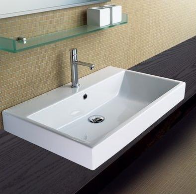 Lavabo catalano zero 100 50 con due rubinetti semincasso su piano veb bagno figli - Rubinetti lavabo bagno ...